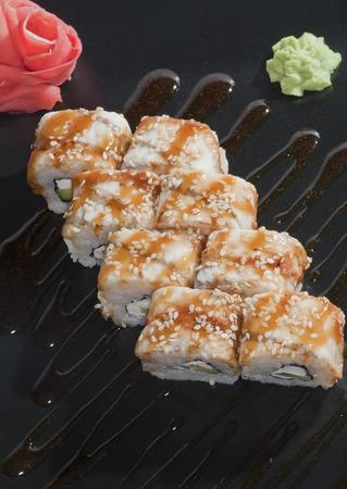 finished dish sushi rolls photo