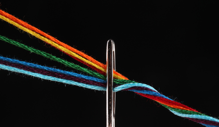 bright iridescent thread floss for embroidery and needlework photo