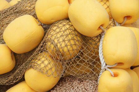 floats: fishing net cork floats in the summer sun