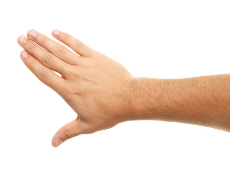 gestures: Hand on white background. Different gestures. Stock Photo
