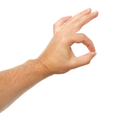 Hand on white background. Different gestures. Stok Fotoğraf