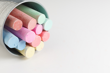 Cylindrical Colorful Crayons Isolated On White Background