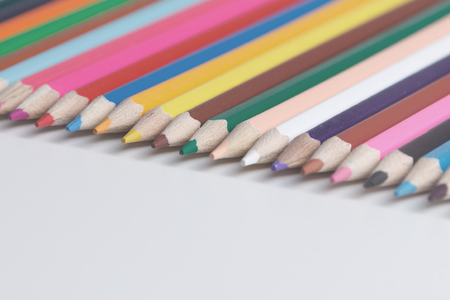 Color Pencils Isolated On White Background Close-up Stok Fotoğraf