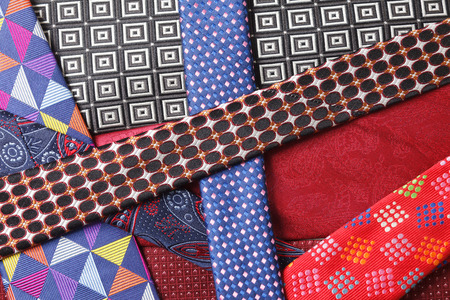 collection of neck ties close up
