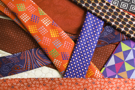 ネクタイのコレクションをクローズ アップ