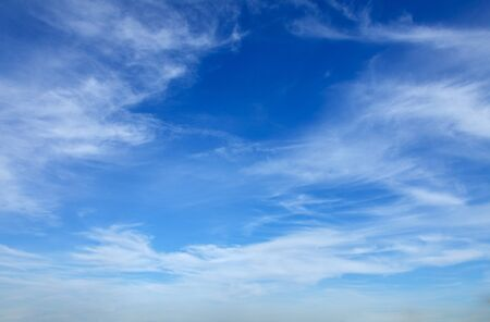 Full frame of beautiful blue sky with cirrostratus clouds