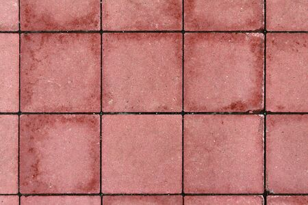 The texture of the square pavers is red with wet spots.