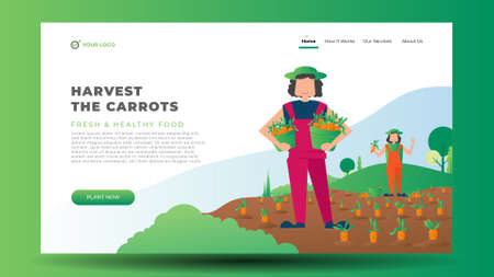 Flat vector farmer with mountain and landscape background 矢量图像