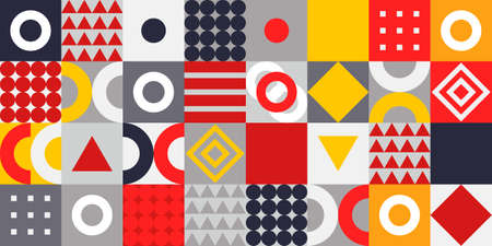Colorful memphis style pattern on corner position and white space. Modern geometric background for business or corporate presentation. Vector illustration Vektoros illusztráció