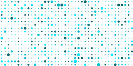 White abstract dots background. Network connection concept blue tosca circle vector illustration. Futuristic perspective wide angle landscape. Big data digital background