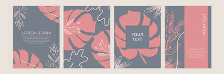 Set of abstract floral backgrounds for  posts. Vector trendy minimal templates in boho style with copy space for text . Botanical wall art vector set Illustration