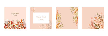 Set of abstract floral backgrounds for posts. Vector trendy minimal templates in boho style with copy space for text . Botanical wall art vector set