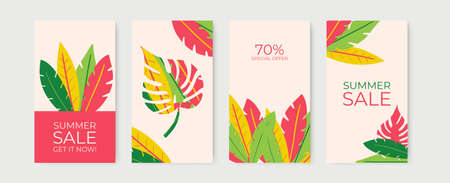 Summer social media story posts collection with floral background. Summer sale banner with tropical leaves background, exotic floral design for banner, invitation, poster, web site or greeting card Illustration
