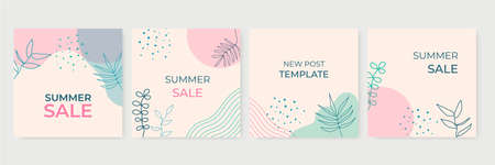 Summer social media posts collection with floral background. Summer sale banner with tropical leaves background, exotic floral design for banner, flier, invitation, poster, web site or greeting card