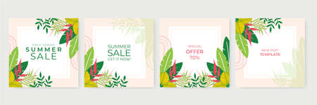 Summer sale banner template. Summer abstract background with leaves and floral design. Tropical backdrop. Promo badge for your seasonal design. Vector illustration for social media post or story