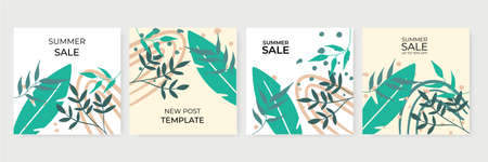 Set of abstract creative universal artistic templates. Vector illustration for poster, card, invitation, flier, cover, banner, and other graphic design. Summer sale banner for social media post