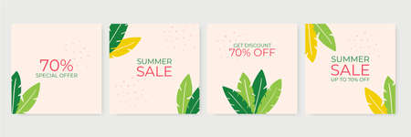 Summer sale banner template. Summer abstract geometric background with palm leaves and floral design. Tropical backdrop. Promo badge for your seasonal design. Vector illustration for banner, poster