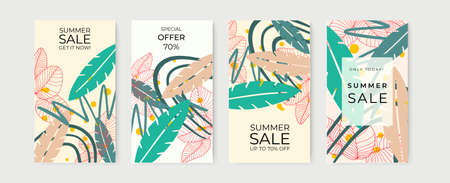 Trendy abstract summer spring art templates with floral and geometric elements. Suitable for social media posts, mobile apps, banners design and web or internet ads. Vector fashion backgrounds