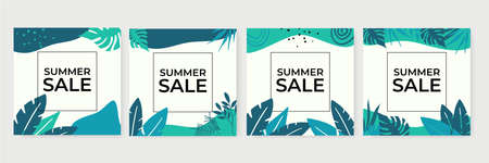 Summer Sale banner, hot season discount poster with tropical leaves and floral pattern. Invitation for shopping with percent off. special offer card, template for design social media post story