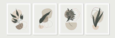 Botanical wall art vector set. Earth tone boho foliage line art drawing with abstract shape. Abstract Plant Art design for print, cover, wallpaper, Minimal and natural wall art Vector Illustration