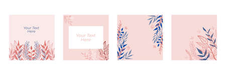 Organic flat floral template for social media or square flier. Organic flat floral wedding invitation design template. Spring sale posts pack