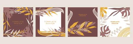 Organic flat floral template for social media or square flier. Organic flat floral wedding invitation design template. Spring sale  posts pack Illustration