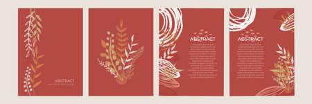Organic flat floral template for social media or square flier. Organic flat floral wedding invitation design template. Illustration