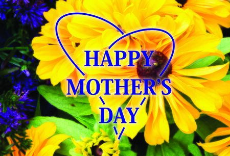mothersday: Heart around Happy mothersday on yellow flower background