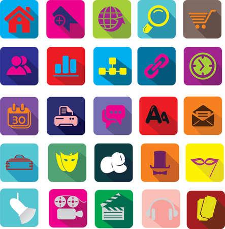 flat: Semi flat icons set