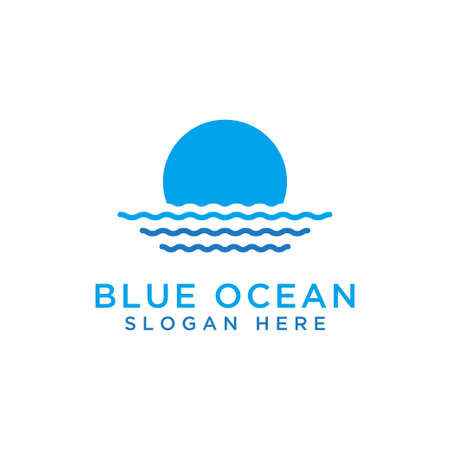 Design of ocean wave icons, blue water - Vector