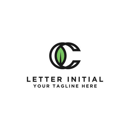 The simple leaf logo is the initial vector design C. the initial style - Vector Иллюстрация