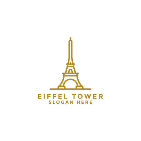 Vector line logos in simple Paris designs and French buildings with elements for cellular concepts and web applications. - Vector