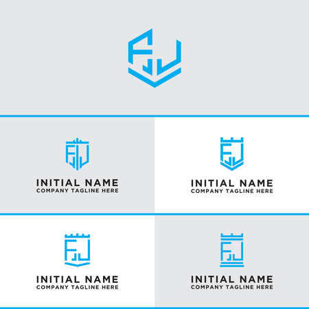 Inspiring design Set, for companies from the initial letters of the FJ icon. -Vectors
