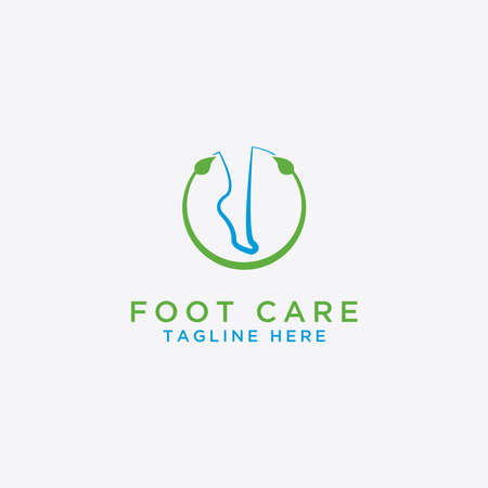 Logo of foot care design and foot health - Vector