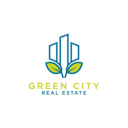 Abstract green city building logo design concept. Symbol icon of residential, apartment and city landscape.Symbol icon of residential, apartment and city landscape. - Vector