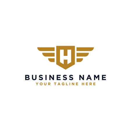 H logo design, wing design vector elements. Linear style business logo design. - Vector