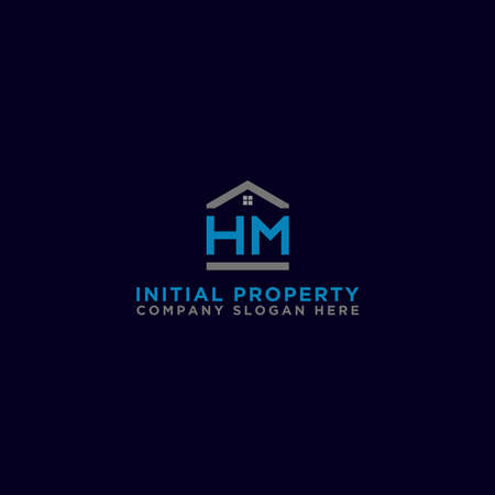 Logo template vector Design, property, real estate with the initials HM- Vector Ilustracja