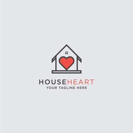 Creative minimalist house with a heart icon design icon house concept vector symbol Ilustracja
