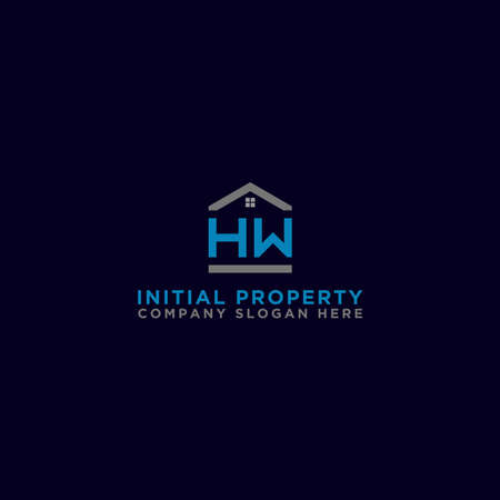 Logo template vector Design, property, real estate with the initials HW - Vector Stock Illustratie