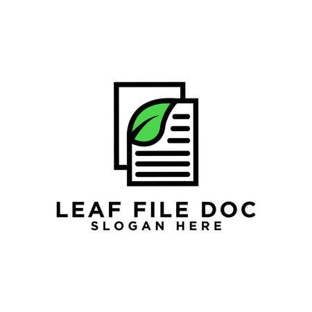 Leaf document design logo, natural data logo symbol, document logo vector icon Ilustração