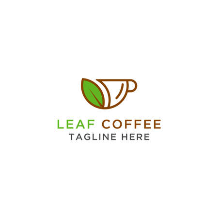 Logo Design Coffee leaves and fruit. - Vector