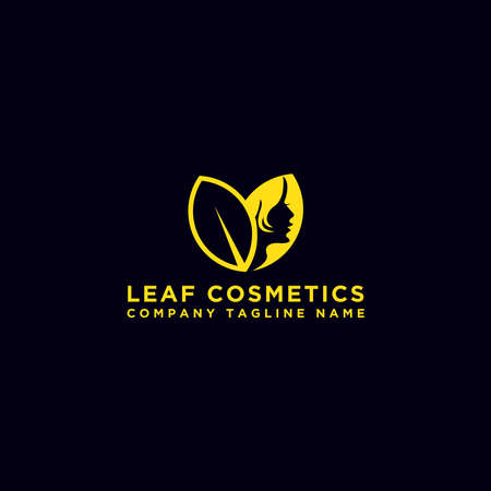 Women's face on the leaves. Abstract design concepts for beauty, massage, cosmetics and spa salons. Vector logo design template.