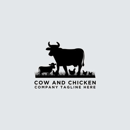 collection of cattle vector. Cow and chicken design - Vector Illustration