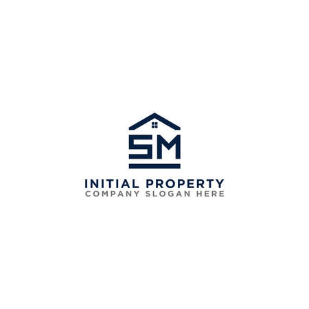 Logo template vector Design, property, real estate with the initials SM - Vector 向量圖像