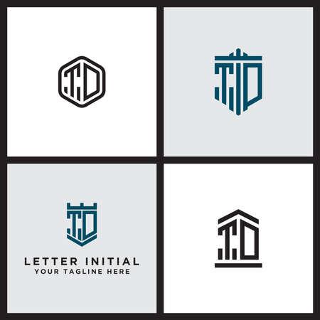 Inspiring logo design Set, for companies from the initial letters of the TD logo icon. -Vectors