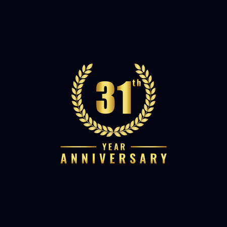 Vector illustration of a birthday logo number 31 with gold color, can be used as a logo for birthdays, leaflets and corporate birthday brochures. - Vector