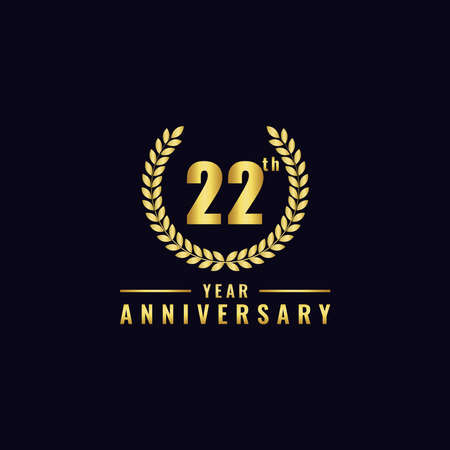 Vector illustration of a birthday logo number 22 with gold color, can be used as a logo for birthdays, leaflets and corporate birthday brochures. - Vector Illusztráció