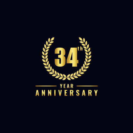 Vector illustration of a birthday logo number 34 with gold color, can be used as a logo for birthdays, leaflets and corporate birthday brochures. - Vector