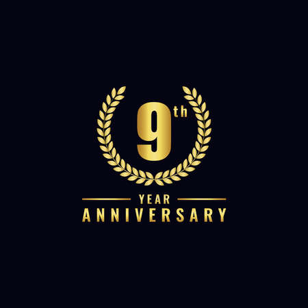 Vector illustration of a birthday logo number 9 with gold color, can be used as a logo for birthdays, leaflets and corporate birthday brochures. - Vector