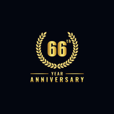 Vector illustration of a birthday logo number 66 with gold color, can be used as a logo for birthdays, leaflets and corporate birthday brochures. - Vector Illusztráció